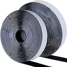Faburo 面ファスナー 両面テープ 強粘着裏糊付 マジックテープ オスメスセット 幅2CM×長8M DIY用 業務用 家庭用 工業用 ブラック