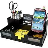 Victor 9525-5 Wood Desk Organizer with Smart Phone Holder, Midnight Black