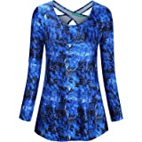 Kimmery Woman Long Sleeve Round Neck Criss Cross Back Moisture Wicking Yoga Shirt
