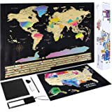 Scratch Off Map of The World - (2-in-1) World Map with Scratch Off USA Map, Gift Messaged Box + Storage Pouch with Bonus Tool