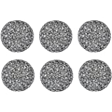 """DII Woven Paper Round Decorative Placemat or Charger for Holidays, Occasions, and Décor, 15"""" Round, Black, Set of 6"""