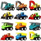 Pull Back Car 12 Pcs Mini Truck Toy Kit Set Funcorn Toys Play Construction Engineering Vehicle Educational Preschool for Chil