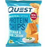 Quest Nutrition Cheddar & Sour Cream Protein Chips, Low Carb, Gluten Free, Potato Free, Baked, 8 Count