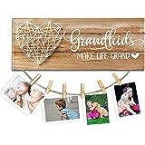 cocomong Grandkids Photo Frame – Grandkids Make Life Grand – Gfits for Grandma & Grandpa from Grandchildren, Grandparents Pic