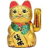 VanEnjoy 7 inches Beckoning Ceramic Maneki Neko Lucky Fengshui Cat