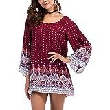 Risesun Women's Bohemian Vintage Printed Ethnic Style Loose Casual Tunic Dress