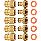 ShowNew Garden Hose Quick Connector 3/4 inch GHT Solid Brass Easy Connect Hose Thread Fittings Male and Female (5 Sets)