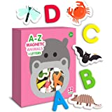 Curious Columbus Magnetic Animals and Letters Set of 52. Includes 26 Foam Animal Picture Magnets Plus 26 Uppercase Alphabet M