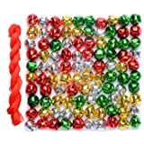 100 Pcs Christmas Bells Craft Jingle Small Bell,Gold, Silver, Red and Green for Christmas Decoration Supply with 25m Cords (0