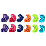 King's deal- Tm 12pcs (6 Pairs) Dust Floor Cleaning Slippers Shoes Mop House Clean Shoe Cover Multifunction (12 Pcs (6 Color)