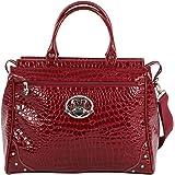 """Kathy Van Zeeland Luggage Croco PVC 16"""" Dowel Bag (16in, Burgendy)"""