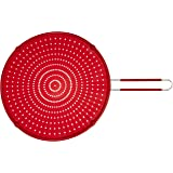 """ExcelSteel 13"""" Silicone Splatter Screen w/Non-Slip Grip, Red"""