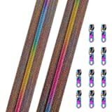 B.Y Elements #5 Zippers by The Yard, Rainbow Teeth Nylon Coil Long Zipper, 10 Yards Coloured Tape with 10PCS Metallic Sliders