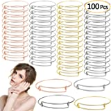 UPINS 100Pcs Expandable Bangle Bracelets Adjustable Blank Bracelets for Jewelry Making, 4 Colors