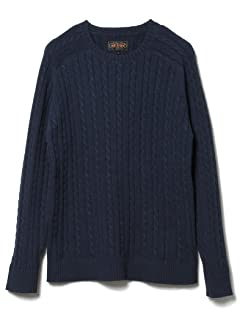 Blended Linen Cotton Cable Crewneck Sweater 11-15-0812-103: Navy