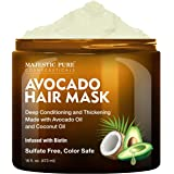 MAJESTIC PURE Avocado and Coconut Hair Mask for Dry Damaged Hair - Infused with Biotin - Deep Conditioning, Hair Thickening,