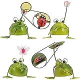 プレゼント に 4匹の小さな カエル の 置物/ブリキ で作られた かわいい 蛙 の オブジェ (葉,網,花,蝶,てんとう虫付)