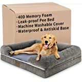 Kastty Large Dog Bed, Orthopedic Dog Bed, Washable and Waterproof Memory Foam Dog Bed, Long Faux Fur Dog Couch, L-Shaped Dog