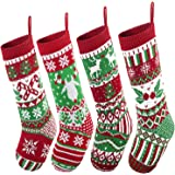 """JOYIN 4 Pack 18"""" Christmas Stockings, Large Size Rustic Cable Knit Xmas Stocking in Red & Green, for Family Holiday Season De"""