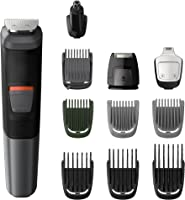 Philips Multigroom Series 5000 11-in-1 Face, Hair and Body Waterproof Trimmer/Clipper with DualCut Technology and 80 min...