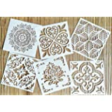 OBUY Reusable Stencil Laser Cut Painting Template Floor Wall Tile Fabric Furniture Stencils Mandala Painting Stencils Set of