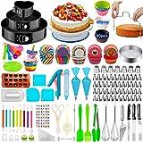 Cake Decorating Supplies,493 PCS Cake Decorating Kit 3 Packs Springform Cake Pans, Cake Rotating Turntable,48 Piping Icing Ti
