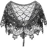 L'VOW Womens Gatsby 1920s Shawl Beaded Sequin Evening Wraps Flapper Cape Bolero