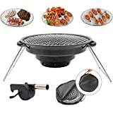 BBQMM Portable Stainless Steel Outdoor BBQ Grill,Charcoal Grill with Air Blower and Carry Bag