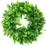 """ElaDeco 10"""" Boxwood Wreath Artificial Green Leaves Wreath for Front Door Wall Window Wedding Party Decoration"""