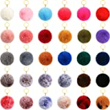 30 Pieces Pom Poms Keychains Fluffy Ball Pompoms Key Chain Colorful Faux Fur Pompoms Keyring for Girls Women Hats Shoes Bags
