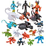 How to Train Your Dragon - 18 Action Figures, Mini Figure Toys for Kids Cupcake Cake Toppers Party, Carry Bag