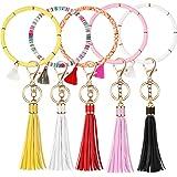 5 Sets Boho Key Ring Bracelet Wristlet Keychain Beaded Bangles Bracelet Leather Tassel Key Ring Wristlet with Tassel Keychain