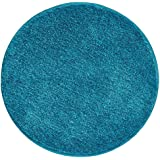 mDesign Soft Microfiber Polyester Non-Slip Round Spa Mat/Runner, Plush Water Absorbent Accent Rug for Bathroom Vanity, Bathtu