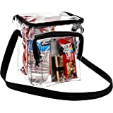 Bags for Less Clear Messenger Beg Stadium Approved Crossbody Purse Clear Lunch Box Adjustable Strap, Easy to Clean and Water