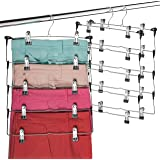 Space Saving 5 Tier Metal Skirt Hanger with Clips (3 Pack) Hang 5-on-1, Gain 70% More Space, Rubber Coated Hanger Clips, 360