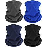 4 Pieces Winter Neck Warmers Fleece Gaiter Windproof Face Covering (Black, Blue, Dark Gray, Navy Blue)