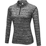 WOWENY Long Sleeve Shirts Quarter 1/4 Zip Shirt for Womens Quick Dry Pullover Running Shirt Thumbholes Workout Top