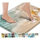 Britimes Bath Mats for Bathroom, Bathroom Mats Rugs No Silp, Beach Starfish Sea Shell Washable Cover Floor Rug Carpets Floor