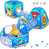 5 Piece Kids Play Tent and Play Tunnel for Toddler, Premium Ocean Kids Playhouse with 1 Baby Ball Pit, 2 Kids Play Tunnels, 2
