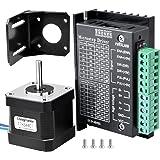 Longruner NEMA17 ステッピングモーター+ドライバーコントローラー+Nema17取付ブラケット+M3 ネジ 9V-40V CNC単軸 2位相4位相(4/6/8線) 3Dプリンター用 LD09
