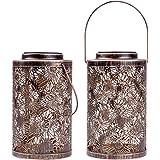 Solar Lanterns Outdoor Hanging - Garden Solar Lights Metal Outdoor Lantern 2 Pack Decorative Garden Table Lights Solar Powere