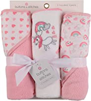 Buttons and Stitches 3 Piece Infant Hooded Towel, Unicorn Prints
