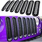 【Upgrade Matte Black Clip-in Version】 E-cowlboy Front Grill Mesh Grille Insert Guard Kit for Jeep Wrangler JK JKU 2007-2015 (