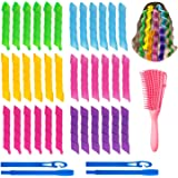 38pcs Hair Curlers Spiral Curls Styling Kit, No Heat Hair Curlers,Hair Rollers Wave Styles,Heatless Spiral Curlers with 2 Pie