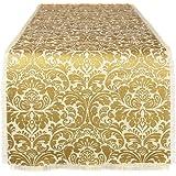 DII 100% Jute, Gold Damask Printed, 14 x 72 Burlap Fringe Table Runner