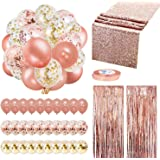 Rose Gold Balloons Party Decorations Supplies Set 35 Pack Include 30 Balloons, 2 Foil Fringe Curtains, 1 Rose Gold Sequin Tab