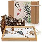 """Japanese Zen Garden Office Desk Display with 11"""" x 7.5"""" Bamboo Tray, White Sand, River Stones and Other Accessories for Home"""