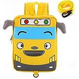 Willikiva Little Kids Cartoon Bus Toddler Backpacks,Child School Bag for Kindergarten Girls and Boys (Yellow)
