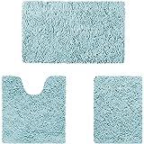HOMEIDEAS Microfiber Absorbent Bath Rug, Chenille Washable Floor Mat -Non Slip Soft Carpet Baby Blue