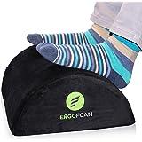 ErgoFoam Foot Rest Under Desk (Tall) - Large Premium Velvet Soft Foam Footrest for Desk | Most Comfortable Desk Foot Rest in